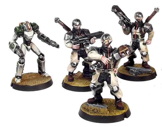 Epirian Contractor Suppression Team with Subjugator Bot for Maelstrom's Edge - 28mm, multi-part, plastic models